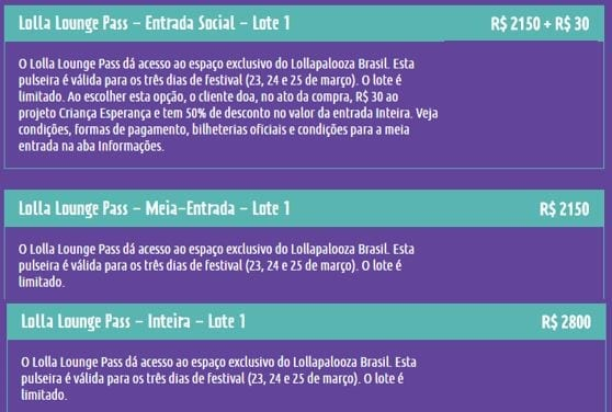 ingresso para o lollapalooza brasil