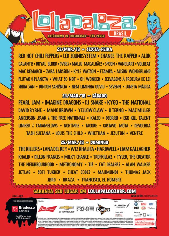 lollapalooza brasil 2018 line up