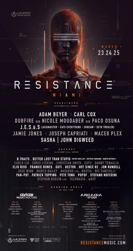 line up do palco Resistance no Ultra Miami