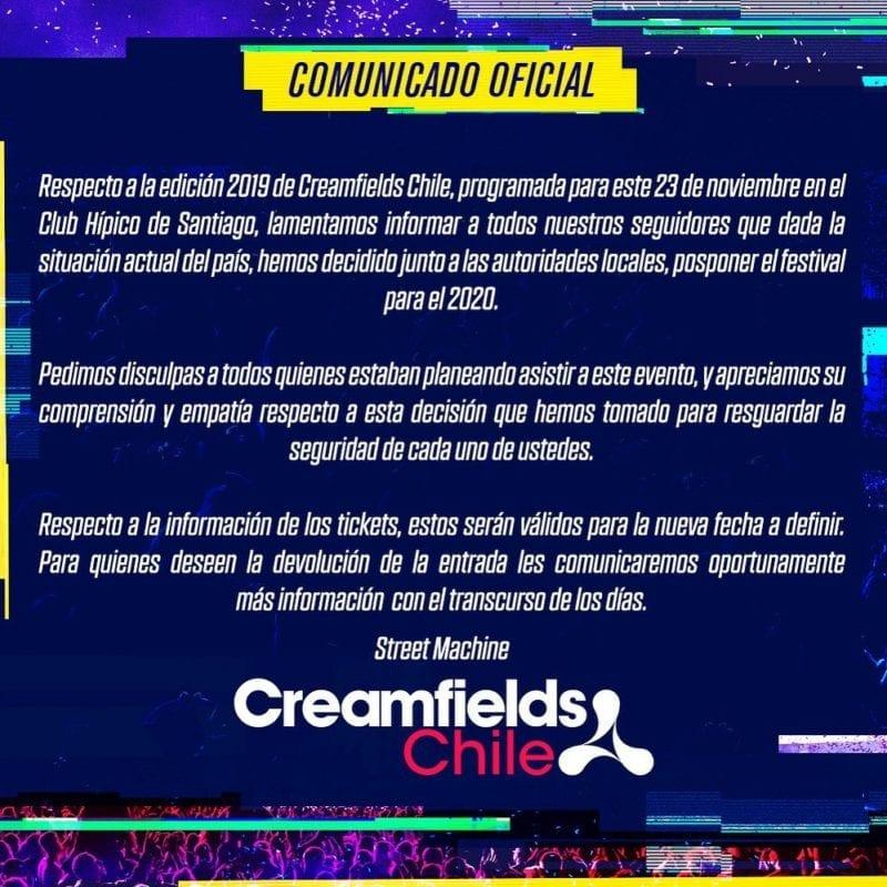 Creamfields Chile cancelado